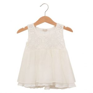 White lace dress in silk and cotton