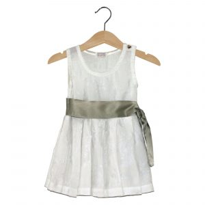 white cotton dress with green belt