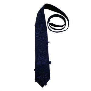 dark blue macrame tie