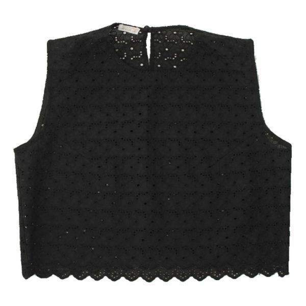 black cotton lace top