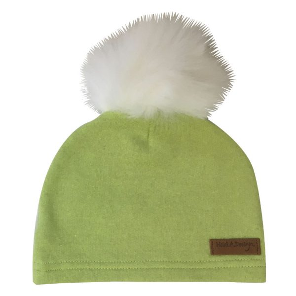 Lime green cotton jersey beanie with a pom-pom - Heidi.A.Design 12d4269df0c