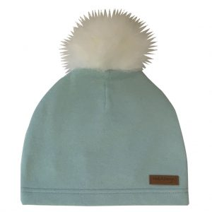 mint green beanie with pompom