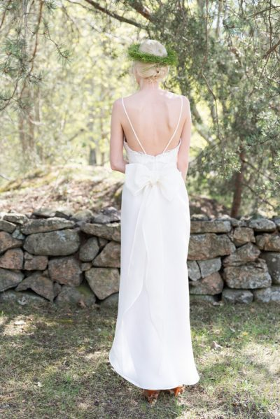 White wedding dress, back