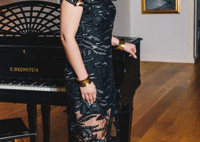 Kristiina Salonen`s  black lace dress