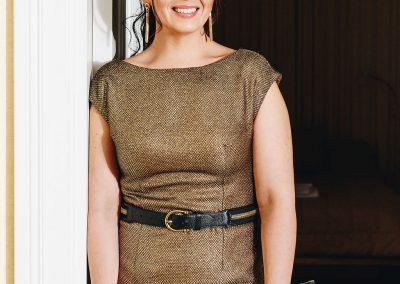 Kristiina Salonen`s  golden dress close up