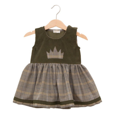 Green princess dress in cotton