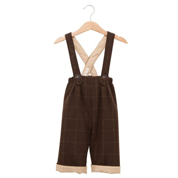 Brown wool pants with straps