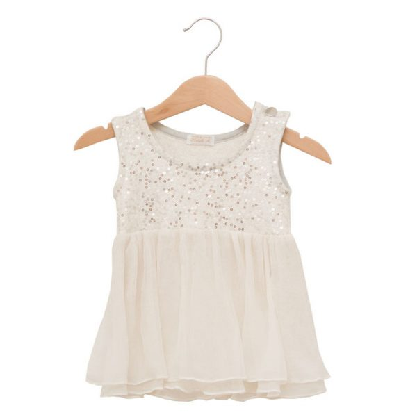 White sequins dress in silk and wool