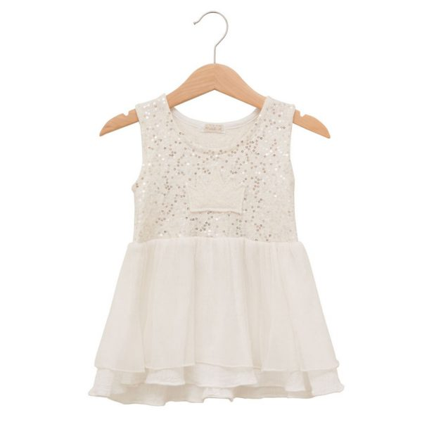 White sequins dress with crown