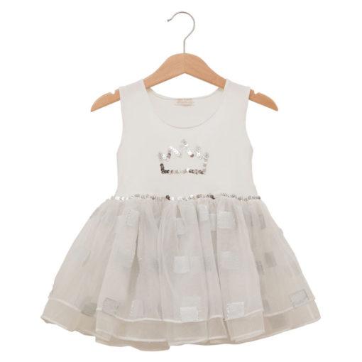 Silver and white princess dress