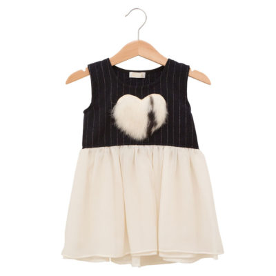 Navy dress with a fur heart