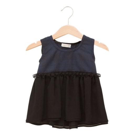 Black and blue lace-belt dress