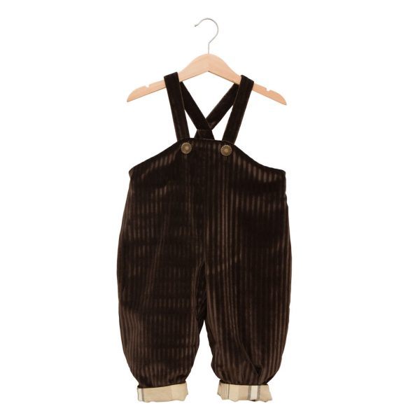 Brown velvet overalls with straps