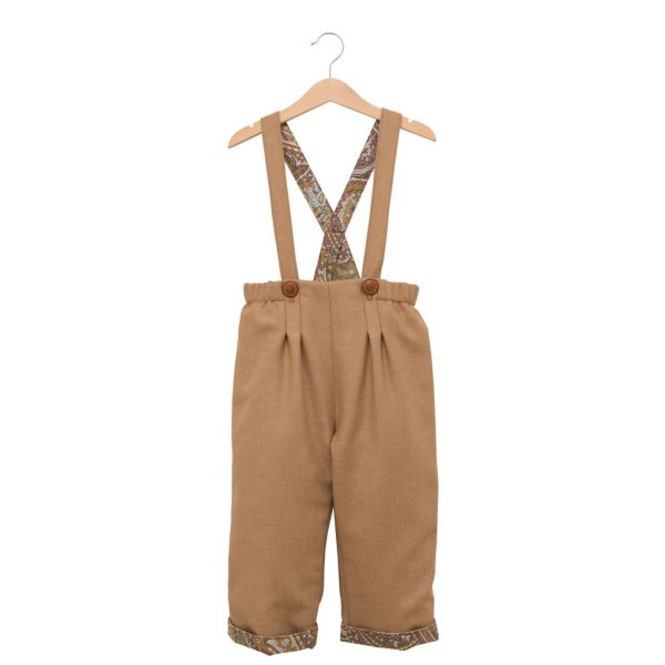 Little brown wool pants with straps
