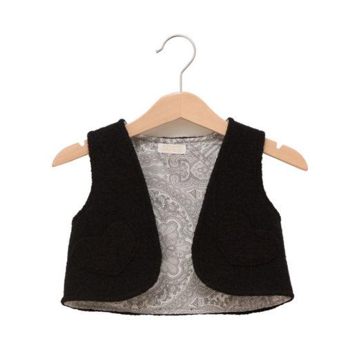 black grey wool vest