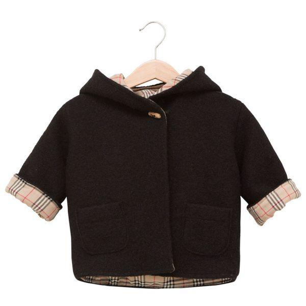black Burberry-style coat