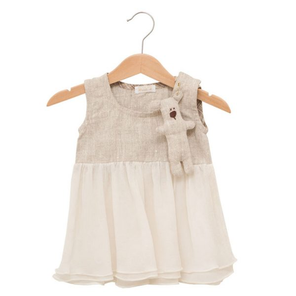 Teddy dress in silk and linen
