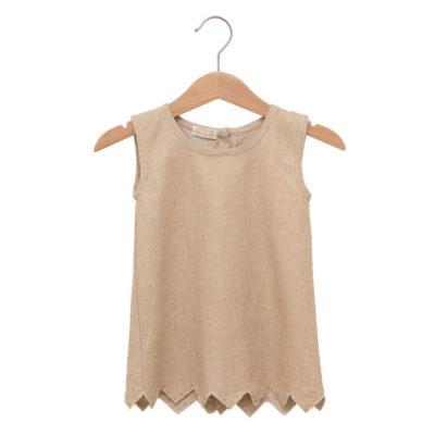 Linen dress with zic zac- hem