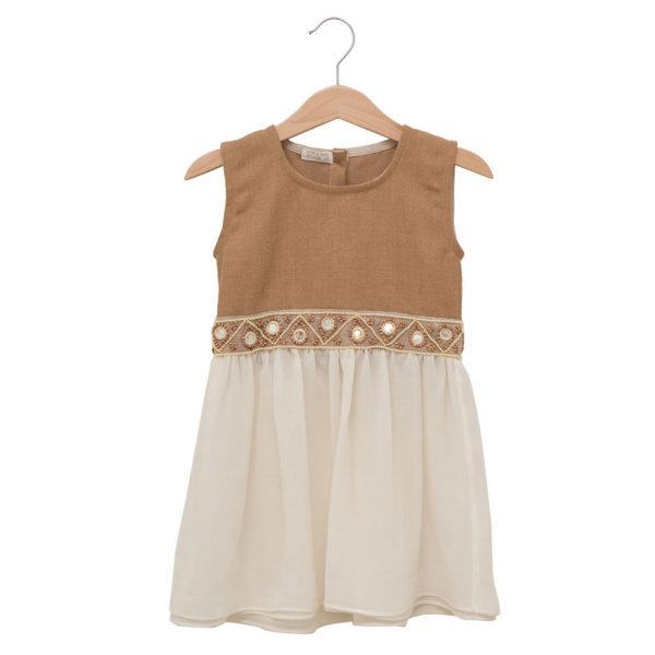 Dress with embroiled belt