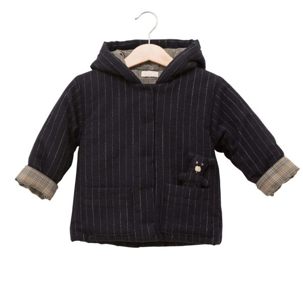 amazing selection new arrivals shopping Navy wool coat with teddy bear