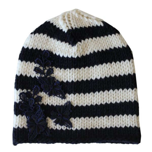 blue white beanie with macrame flowers