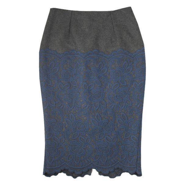 gray blue Burberry skirt