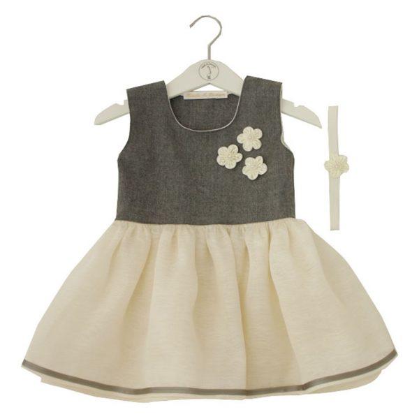 gray wool organza dress