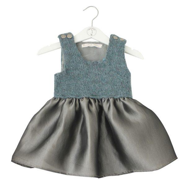 Petrol wool organza-dress
