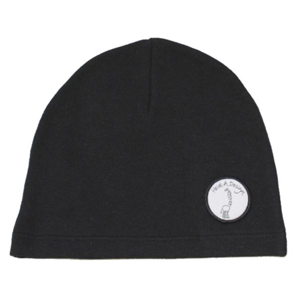 Black college beanie with logo