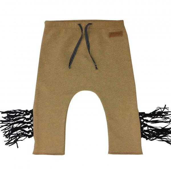 beige fringe pants