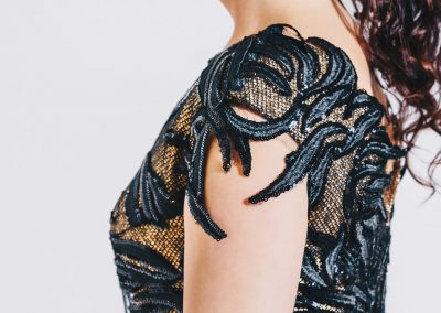 Details of the dress of Kristiina Salonen