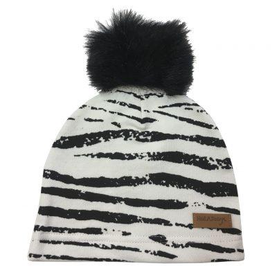 Zebra beanie with pom pom