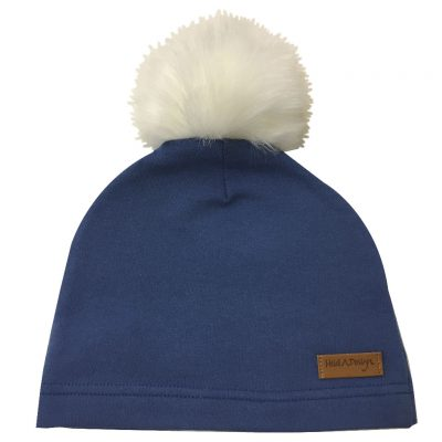 blue beanie with pom pom