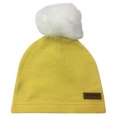 yellow beanie with pom pom