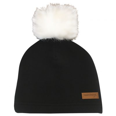 black beanie with pom pom