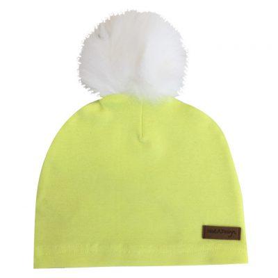 neon yellow beanie, one layer