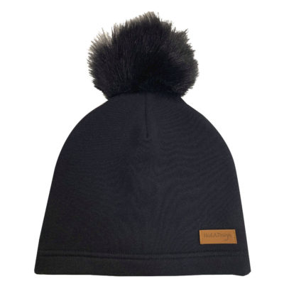 black beanie with a pom pom