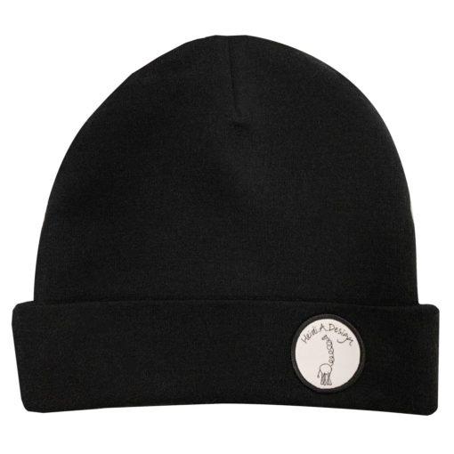 black wool logo beanie