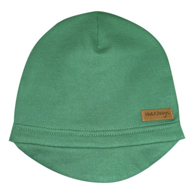 green beanie with a lid