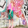 Salla turquoise leather skirt