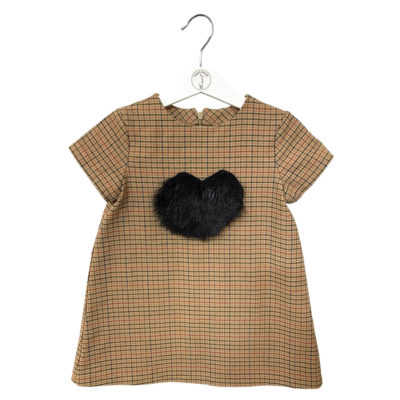 Checked fabric dress with a fur heart
