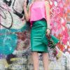 Salla editorial turquoise leather skirt