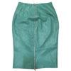 Green leather skirt, back