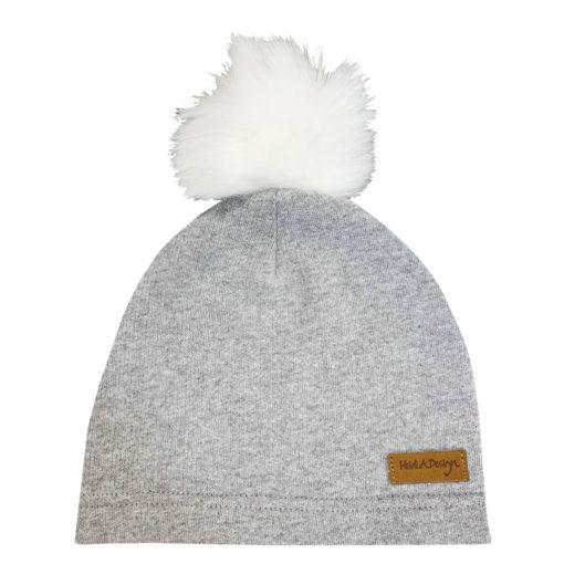Light grey beanie with a pom-pom