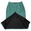 Turquoise leather skirt, back open
