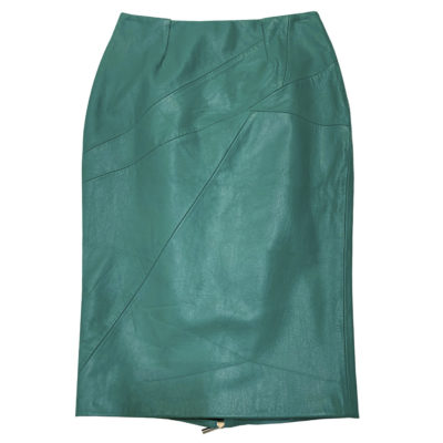 turquoise leather skirt, front