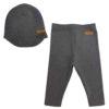 Gray leggings and a beanie