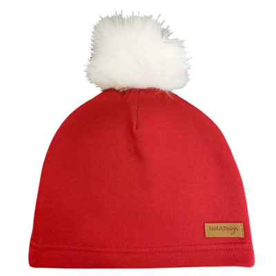 red beanie with faux fur pom pom