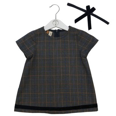 Checked pattern dress with a bow