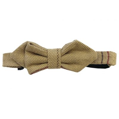 Light brown checked bowtie